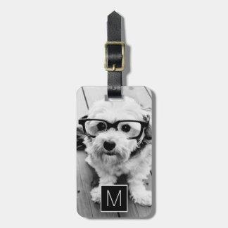 Black & White 1 Photo Collage Custom Monogram Luggage Tag