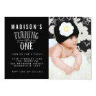 Black & White 1st Birthday Personalised Photo Card