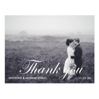 Black & White 2 Photo Wedding Thank You Postcard