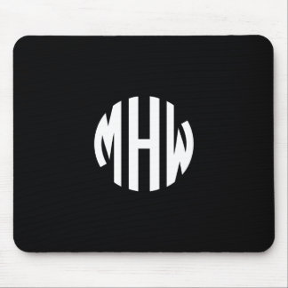 Black White 3 Initials in a Circle Monogram Mouse Pad