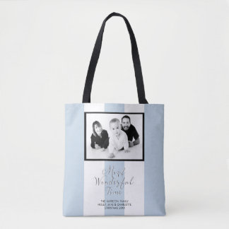 Black & White 3 Stripes Duck Egg Blue Photo Tote Bag