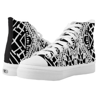 Black/White Abstract #1 Printed Shoes