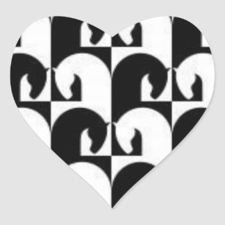 Black White Abstract Chess Horse Heart Sticker