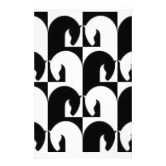 Black White Abstract Chess Horse Stationery