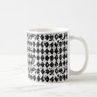 Black & White Abstract Diamonds Basic White Mug