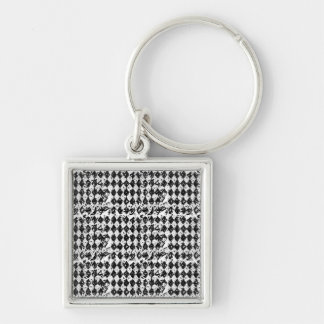 Black & White Abstract Diamonds Silver-Colored Square Key Ring