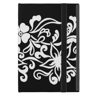 Black & white abstract flower drawing iPad mini case