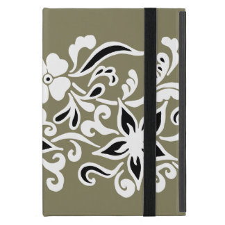 Black & white abstract flower drawing on green iPad mini case