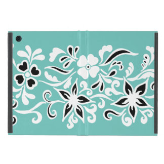 Black & white abstract flower drawing on teal iPad mini covers