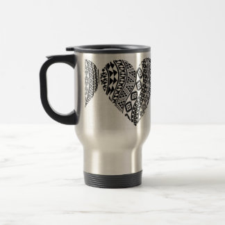Black & White Abstract Heart Travel Coffee Cup
