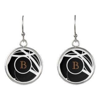 Black & White abstract(orange monogram) | Earrings