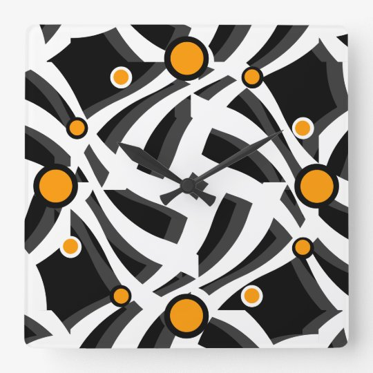 Black White Abstract Orange Wall Clock