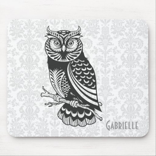 Black & White Abstract Owl Mouse Pad