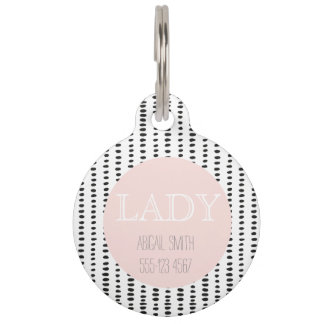 Black & White Abstract Print Personalized Pet Tag