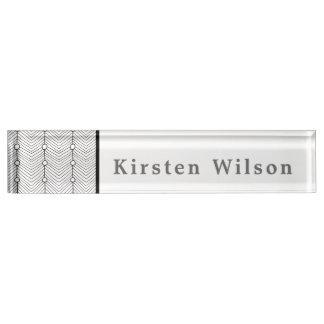 Black & White Abstract Retro Print Desk Nameplate