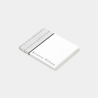 Black & White Abstract Retro Print Personalized Post-it Notes