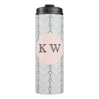 Black & White Abstract Retro Print Thermal Tumbler