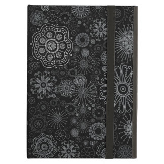 Black & White Abstract Snowflake Variety Pattern Cover For iPad Air