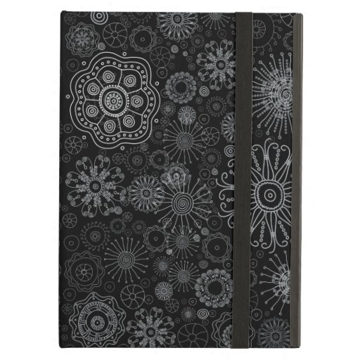 Black & White Abstract Snowflake Variety Pattern iPad Air Covers