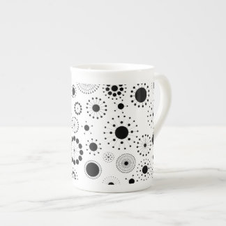 Black & White Abstract Stars & Circles Pattern Bone China Mug