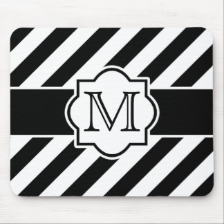 Black White Abstract Striped Pattern with Monogram Mouse Mat