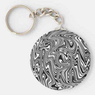 Black & White Abstract Swirl Basic Round Button Key Ring