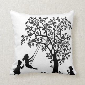 Black & White Abstract Tree kids playing pillow
