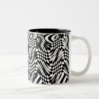 Black White Abstract Two-Tone Coffee Mug