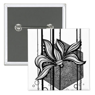 Black & White Abstract Water Lilly 15 Cm Square Badge