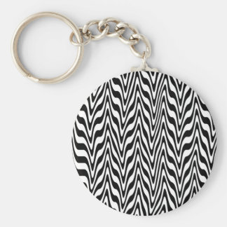 Black & White Abstract Zigzag Basic Round Button Key Ring