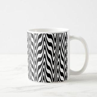 Black & White Abstract Zigzag Basic White Mug