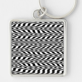 Black & White Abstract Zigzag Keychains