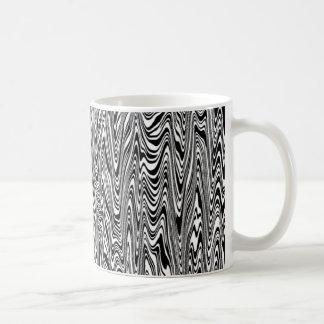 Black & White Abstract Zigzag Swirl Basic White Mug