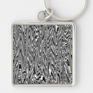 Black & White Abstract Zigzag Swirl Silver-Colored Square Key Ring