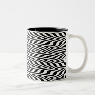 Black & White Abstract Zigzag Two-Tone Mug