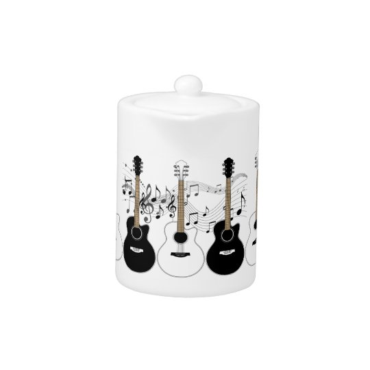 Black & White Acoustic Guitars & Musical Notes
