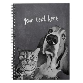 Black White Adorable Cartoon Cat & Dog Chalkboard Notebooks