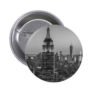 Black & White Aerial View of New York City Night 6 Cm Round Badge