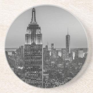Black & White Aerial View of New York City Night Coaster