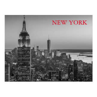 Black & White Aerial View of New York City Night Postcard