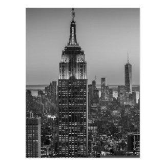 Black & White Aerial View of New York City Night Postcard
