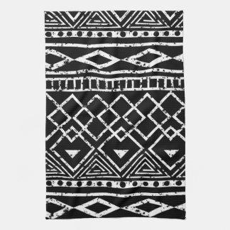 Black White African Tribal Pattern Tea Towel