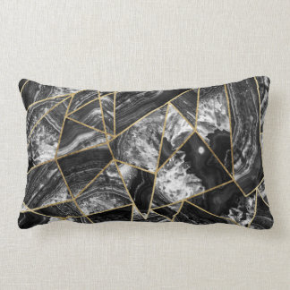 Black White Agate Black Gold Geometric Triangles Lumbar Cushion