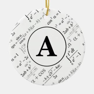 Black White Algebra Math Monogram Initial Christmas Ornament