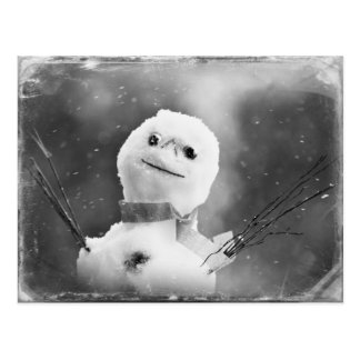 Black & White Altered Snowman Postcard