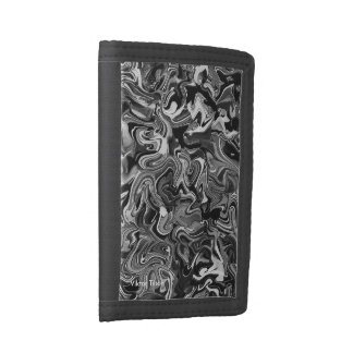 Black/white Amalgamation design by Viktor Tilson Tri-fold Wallet