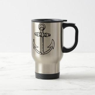 Black & White Anchor Travel Mug