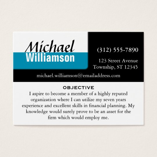 Black White and Blue Corner RESUME Cards