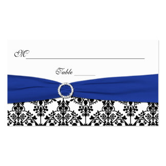Black, White, and Blue Damask Placecards Business Card