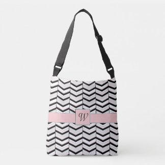 Black White and Blush Chevron All-Over-Print Bag